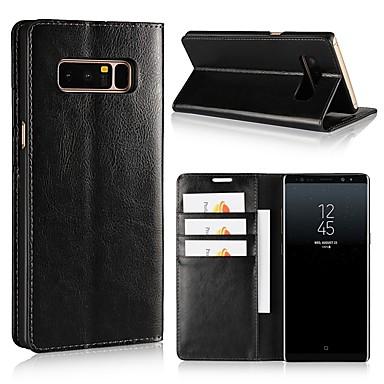 Недорогие Чехлы и кейсы для Galaxy Note 4-Кейс для Назначение SSamsung Galaxy Note 8 / Note 5 / Note 4 Кошелек / Бумажник для карт / Защита от удара Чехол Однотонный Твердый Настоящая кожа