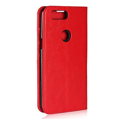 رخيصةأون حالات / أغطية ون بلس-غطاء من أجل OnePlus OnePlus 5T حامل البطاقات / مع حامل / قلب غطاء كامل للجسم لون سادة قاسي جلد أصلي