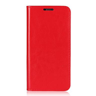 Недорогие Чехлы и кейсы для LG-Кейс для Назначение LG LG G6 Бумажник для карт / со стендом / Флип Чехол Однотонный Твердый Настоящая кожа