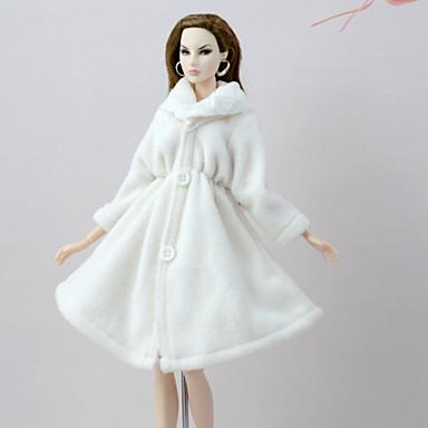 promoción estilo exquisito diseño superior [€7.19] Traje de muñeca Abrigo de muñeca Abrigos por Barbie Blanco Franela  Vellón Poliéster Chaqueta por Chica de muñeca de juguete