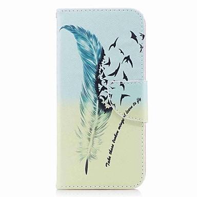 voordelige Galaxy A-serie hoesjes / covers-hoesje Voor Samsung Galaxy A3 (2017) / A5 (2017) / A7 (2017) Portemonnee / Kaarthouder / met standaard Volledig hoesje Veren Hard PU-nahka