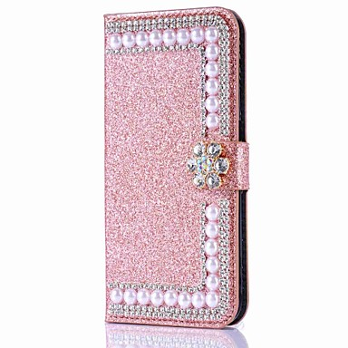 cheap iPhone Cases-Case For Apple iPhone 11 / iPhone 11 Pro / iPhone 11 Pro Max Wallet / Card Holder / Rhinestone Full Body Cases Solid Colored Hard PU Leather