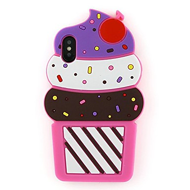 voordelige iPhone-hoesjes-hoesje Voor Apple iPhone X Patroon Achterkant Cartoon / 3D Cartoon / IJs Zacht Siliconen