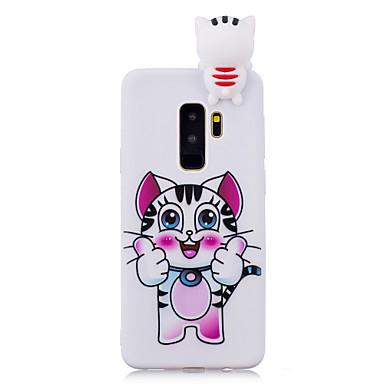 Недорогие Чехлы и кейсы для Galaxy S-Кейс для Назначение SSamsung Galaxy S9 / S9 Plus / S8 Plus Защита от удара / С узором / Своими руками Кейс на заднюю панель Кот / Мультипликация / 3D в мультяшном стиле Мягкий ТПУ