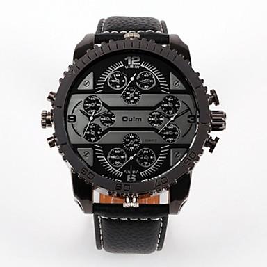 Недорогие Часы на кожаном ремешке-Oulm Муж. Для пары Повседневные часы Модные часы Кварцевый Роскошь Повседневные часы Кожа Черный / Коричневый Аналоговый - Белый Черный Красный / Японский / Японский / Steampunk
