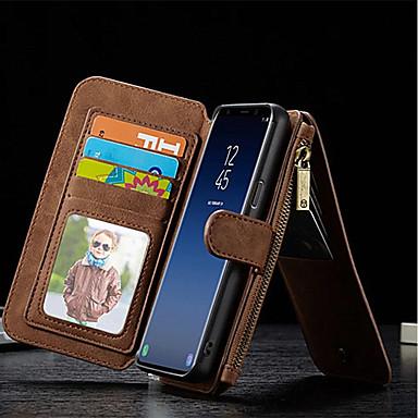 Недорогие Чехлы и кейсы для Galaxy S-Кейс для Назначение SSamsung Galaxy S9 / S9 Plus / S8 Plus Кошелек / Бумажник для карт / Защита от удара Чехол Однотонный Твердый Настоящая кожа