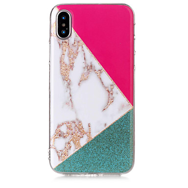 voordelige iPhone-hoesjes-hoesje Voor Apple iPhone X / iPhone 8 Plus / iPhone 8 IMD / Patroon / Glitterglans Achterkant Glitterglans / Marmer Zacht TPU