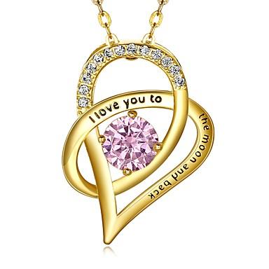 povoljno Modne ogrlice-Žene Kubični Zirconia mali dijamant Ogrlice s privjeskom simuliran Srce dame Moda Plastika Zlato Pink Ogrlice Jewelry 1 Za Angažman Dar
