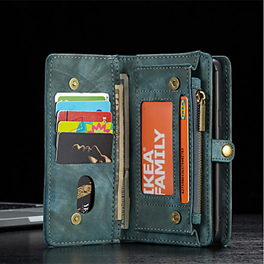 Недорогие Чехол Samsung-кожаный защитный кошелек caseme со съемным магнитным замком чехол для мобильного телефона много отделений 11 карманов для карточек на молнии для монет samsung s7 s7edge s8 s8plus s9 s9plus filp bag