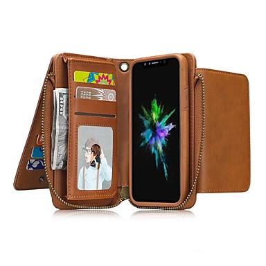 Недорогие Кейсы для iPhone 6-Кейс для Назначение Apple iPhone X / iPhone 8 Pluss / iPhone 8 Кошелек / Бумажник для карт / Защита от удара Чехол Однотонный Твердый Кожа PU