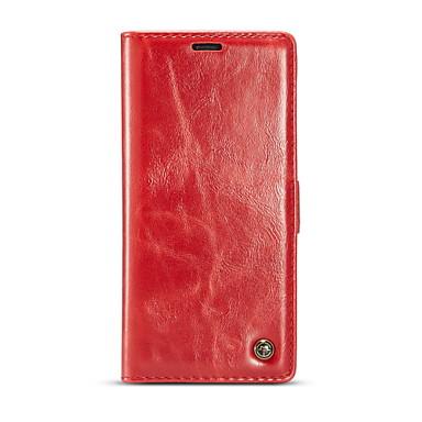 Недорогие Чехол Samsung-Кейс для Назначение SSamsung Galaxy Note 8 Кошелек / Бумажник для карт / Флип Чехол Однотонный Твердый Настоящая кожа