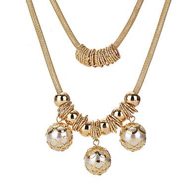 رخيصةأون قلادات-نسائي القلائد الطبقات سيدات حلو لؤلؤ تقليدي سبيكة ذهبي 56 cm قلادة مجوهرات من أجل مناسب للحفلات مناسب للخارج