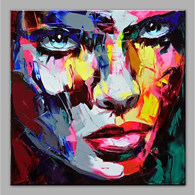 Hang-Dipinto ad olio Dipinta a mano - Astratto Ritratti Modern Senza telaio interno / Tela arrotolata