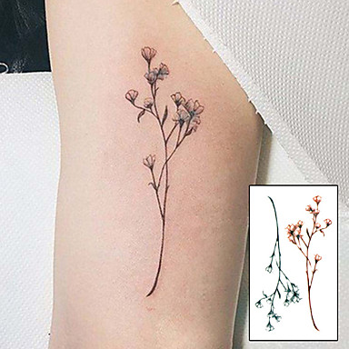 10 pcs ملصقات الوشم الوشم المؤقت سلسلة الزهور / سلسلة الرسوم المتحركة الفنون الجسم ذراع