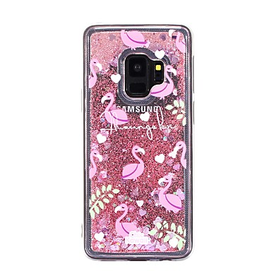 Недорогие Чехлы и кейсы для Galaxy S-Кейс для Назначение SSamsung Galaxy S9 / S9 Plus / S8 Plus Движущаяся жидкость Кейс на заднюю панель Фламинго Мягкий ТПУ