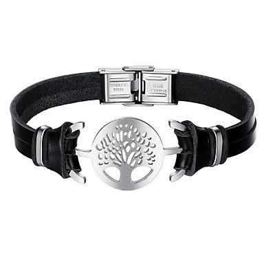 Недорогие Браслеты-Муж. Кожаные браслеты Дерево жизни Мода Нержавеющая сталь Браслет Ювелирные изделия Черный Назначение Повседневные