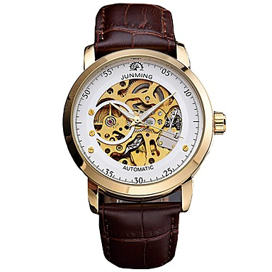 cheap Leather band Watches-Men's Skeleton Watch Mechanical Watch Luxury Calendar / date / day Analog Black Black / White Brown / Stainless Steel / Genuine Leather / Japanese / Chronograph / Genuine Leather