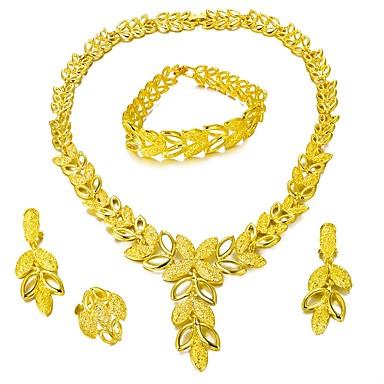 رخيصةأون أطقم المجوهرات-مجموعة مجوهرات شجرة الحياة عبارة سيدات موضة الأقراط مجوهرات ذهبي من أجل زفاف مناسب للحفلات