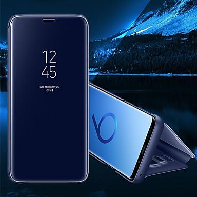 Недорогие Чехлы и кейсы для Galaxy S-Кейс для Назначение SSamsung Galaxy S8 Plus / S8 / S7 edge со стендом / Зеркальная поверхность / Флип Чехол Однотонный Твердый Кожа PU