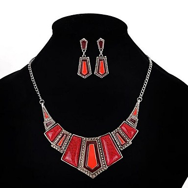 رخيصةأون أطقم المجوهرات-نسائي الراتنج مجموعة مجوهرات هندسي عبارة سيدات عتيق حفلة الأفريقي راتينج الأقراط مجوهرات أحمر من أجل مناسب للحفلات 1SET / القلائد