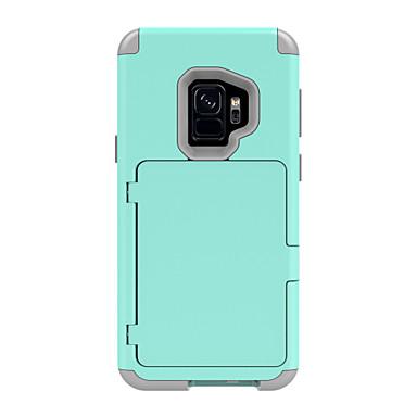 Недорогие Чехлы и кейсы для Galaxy S-Кейс для Назначение SSamsung Galaxy S9 / S9 Plus Бумажник для карт / Защита от удара / броня Чехол Однотонный / броня Твердый ПК