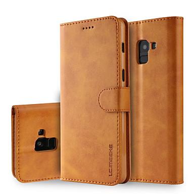 رخيصةأون حافظات / جرابات هواتف جالكسي A-غطاء من أجل Samsung Galaxy A8 2018 / A8+ 2018 محفظة / حامل البطاقات / مع حامل غطاء كامل للجسم لون سادة قاسي جلد PU