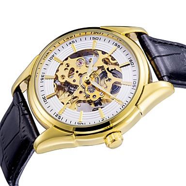 저렴한 가죽밴드 시계-ASJ 남성용 드레스 시계 스켈레톤 시계 기계식 시계 오토메틱 셀프-윈딩 사치 중공 판화 아날로그 화이트 골드 / 가죽 / 퀼트 인조 가죽