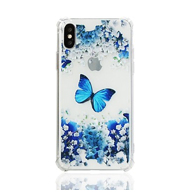 Недорогие Кейсы для iPhone 7-Кейс для Назначение Apple iPhone X / iPhone 8 Pluss / iPhone 8 Защита от удара / С узором Кейс на заднюю панель Бабочка Мягкий ТПУ