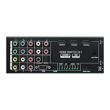 olcso VGA-új multifunkcionális 8 in 1 out hdmi audio video pásztázó koaxiális és spdif támogatással 3d 1080p HDTV házimozira