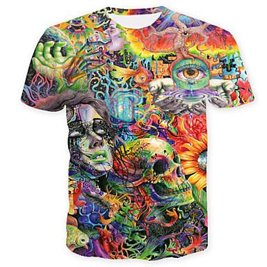 65a4579bdef Men s Skull   Basic Plus Size T-shirt - Geometric   Color Block   Skull  Print Round Neck Green XL   Short Sleeve   Summer 6618703 2019 –  16.31