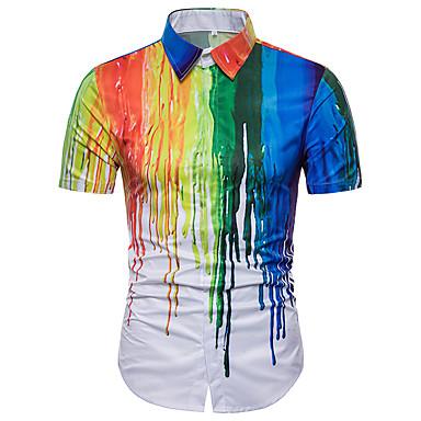 رخيصةأون قمصان رجالي-رجالي أساسي قياس كبير قميص, قوس قزح / كم قصير / الصيف