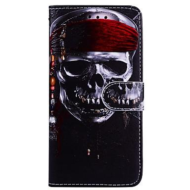 voordelige Galaxy A-serie hoesjes / covers-hoesje Voor Samsung Galaxy A3 (2017) / A5 (2017) Portemonnee / Kaarthouder / met standaard Volledig hoesje Doodskoppen Hard PU-nahka