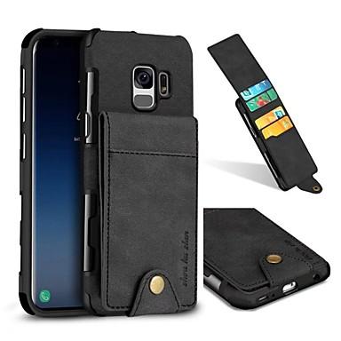 Недорогие Чехлы и кейсы для Galaxy S-Кейс для Назначение SSamsung Galaxy S9 / S9 Plus / S8 Plus Кошелек / Бумажник для карт Кейс на заднюю панель Однотонный Твердый Настоящая кожа