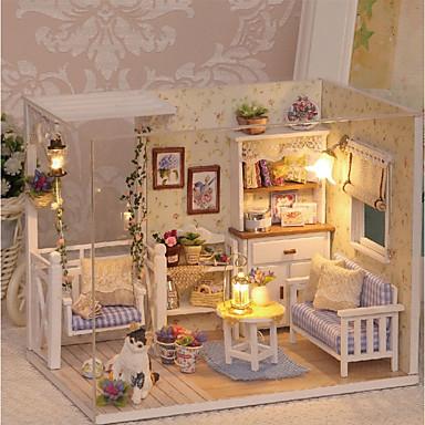 olcso Babaház és kiegészítők-3D Wooden Miniaturas Dollhouse Babaház Szeretetreméltő DIY Tökéletes Romantika Bútor Fa Gyermek Felnőttek Lány Játékok Ajándék