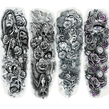 رخيصةأون وشم مؤقت-4 pcs ملصقات الوشم الوشم المؤقت سلسلة الرسوم المتحركة الفنون الجسم وجه / هيكل / أيادي
