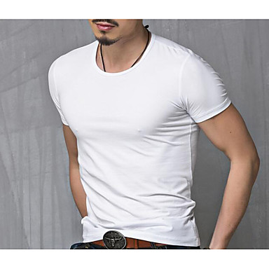 cheap Men's Tees & Tank Tops-Men's Plus Size Graphic Solid Colored T-shirt - Cotton Active Daily Weekend Round Neck White / Black / Summer / Short Sleeve