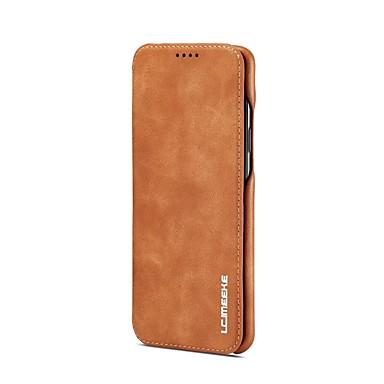 Недорогие Чехлы и кейсы для Galaxy S-Кейс для Назначение SSamsung Galaxy S9 / S9 Plus / S8 Plus Бумажник для карт / со стендом / Флип Чехол Однотонный Твердый Настоящая кожа