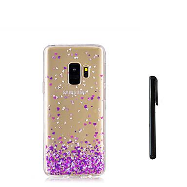 Недорогие Чехлы и кейсы для Galaxy S-Кейс для Назначение SSamsung Galaxy S9 / S9 Plus / S8 Plus Полупрозрачный Кейс на заднюю панель С сердцем Мягкий ТПУ