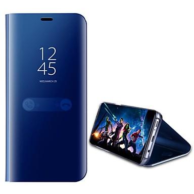 Недорогие Чехлы и кейсы для Galaxy А-Кейс для Назначение SSamsung Galaxy A5(2018) / Galaxy A7(2018) / A8 2018 со стендом / Зеркальная поверхность / Флип Чехол Однотонный Твердый ПК