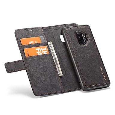Недорогие Чехлы и кейсы для Galaxy S-Кейс для Назначение SSamsung Galaxy S9 / S9 Plus / S8 Plus Кошелек / Бумажник для карт / Флип Чехол Однотонный Твердый Кожа PU
