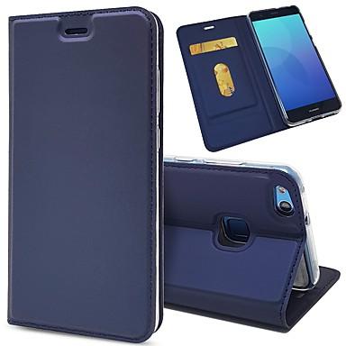 Недорогие Чехлы и кейсы для Huawei-Кейс для Назначение Huawei P10 Plus / P10 Lite / P10 Бумажник для карт / Защита от удара / со стендом Чехол Однотонный Твердый Кожа PU