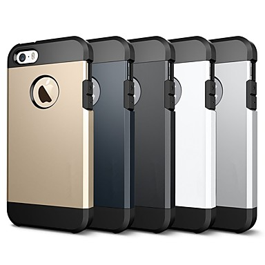 رخيصةأون أغطية أيفون-غطاء من أجل Apple iPhone X / iPhone 8 Plus / iPhone 8 ضد الصدمات / درع غطاء خلفي لون سادة / درع ناعم TPU