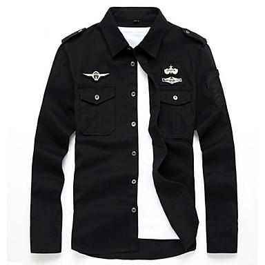 رخيصةأون قمصان رجالي-رجالي عسكري مطرز قياس كبير - قطن قميص, لون سادة / كم طويل / الصيف / الخريف