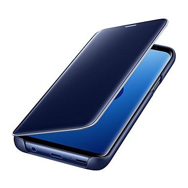 رخيصةأون Galaxy S6 أغطية / كفرات-غطاء من أجل Samsung Galaxy S9 / S9 Plus / S8 Plus مرآة / قلب / النوم / الإيقاظ التلقائي غطاء كامل للجسم لون سادة قاسي جلد PU