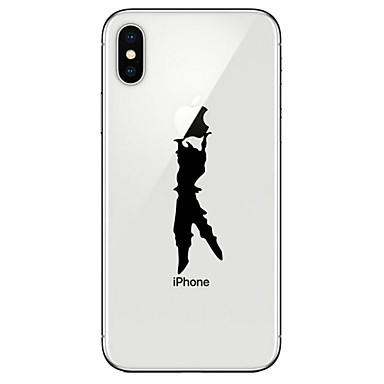 Недорогие Кейсы для iPhone 7 Plus-Кейс для Назначение Apple iPhone X / iPhone 8 Pluss / iPhone 8 Прозрачный / С узором Кейс на заднюю панель Композиция с логотипом Apple Мягкий ТПУ