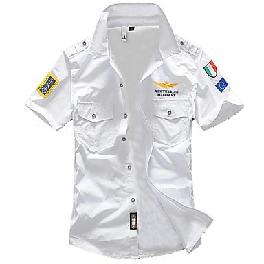 رخيصةأون قمصان رجالي-رجالي عسكري أساسي قميص, لون سادة ياقة كلاسيكية نحيل / كم قصير / الصيف