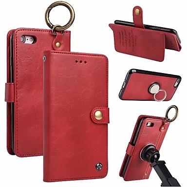 Недорогие Кейсы для iPhone 6-Кейс для Назначение Apple iPhone X / iPhone 8 Pluss / iPhone 8 Кошелек / Бумажник для карт / Кольца-держатели Чехол Однотонный Твердый Настоящая кожа