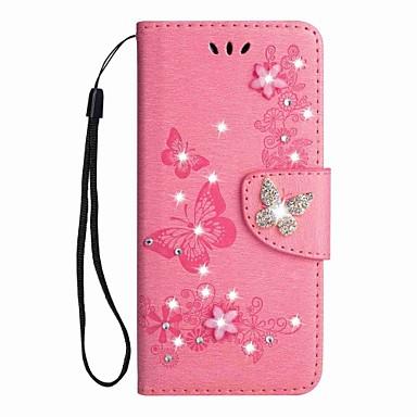 غطاء من أجل Samsung Galaxy A5(2018) / A3 (2017) / A5 (2017) محفظة / حامل البطاقات / حجر كريم غطاء كامل للجسم فراشة قاسي جلد PU