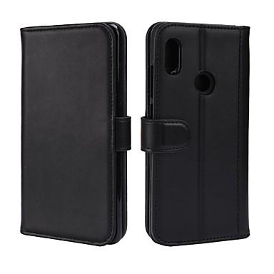 Недорогие Чехлы и кейсы для Xiaomi-Кейс для Назначение Xiaomi Xiaomi Redmi Note 5 Pro Кошелек / Бумажник для карт / со стендом Чехол Однотонный Твердый Настоящая кожа