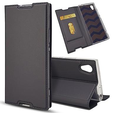 voordelige Hoesjes / covers voor Sony-hoesje Voor Sony Sony Xperia Z5 / Sony Xperia Z5 Compact / Z5 Mini Kaarthouder / met standaard / Flip Volledig hoesje Effen Hard PU-nahka